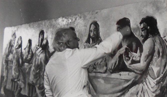 Olio su tavola, 580 x 160 cm., 1974 - Centro Culturale San Bartolomeo, Bergamo.