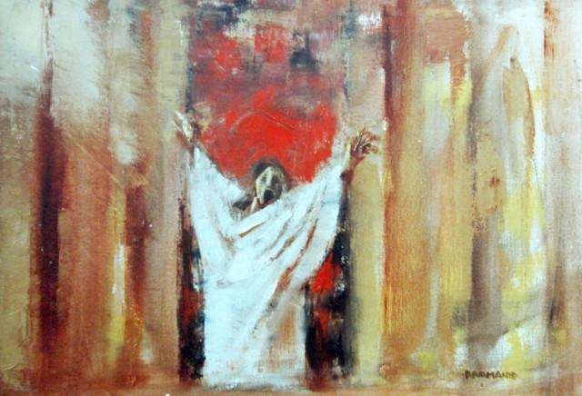 """""""l'Annuncio"""" - Olio su tela, 100 x 70 cm., 1973 - Collezione Schena, Fasano."""