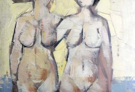 """""""Bagnanti"""" - Olio su tela, 40 x 50 cm., 1977 - Collezione Vecchiola, Macerata."""