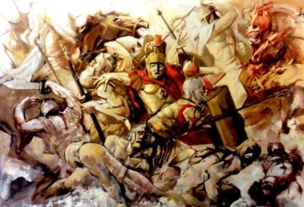 """""""La Battaglia di Canne"""" - Olio su tavola, 250 x 200 cm., 1978 - Comune di Alberobello"""