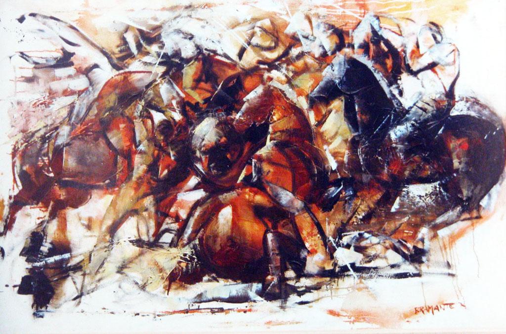 """""""Scontro Medievale"""" - Olio su tela, 120 x 80 cm., Collezione privata, Milano."""