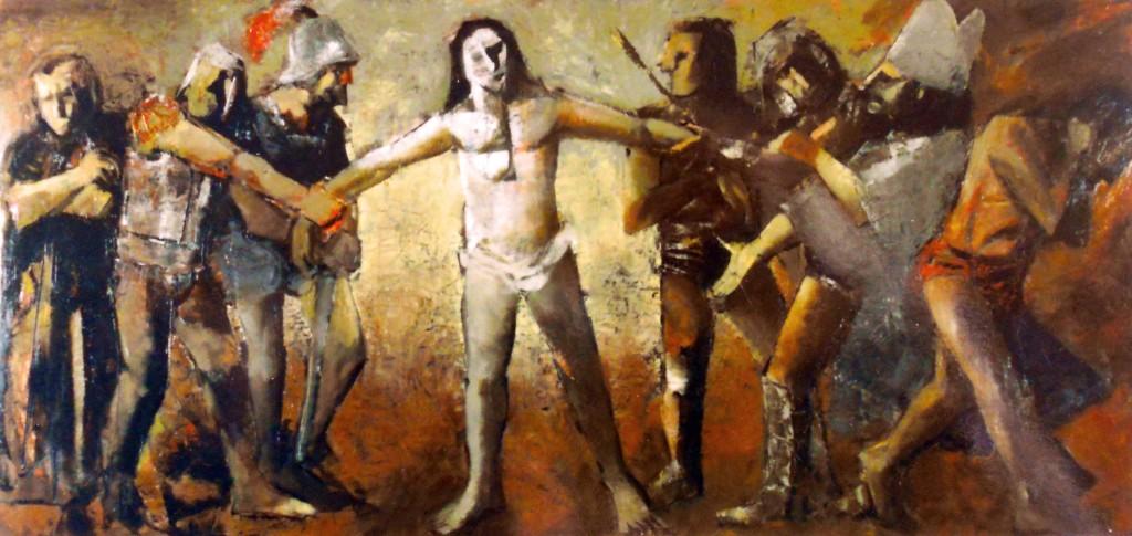 """""""Processo a Cristo"""" - Olio su tavola,170 x 80 cm.,1974 - Collezione Baldis, Bergamo."""