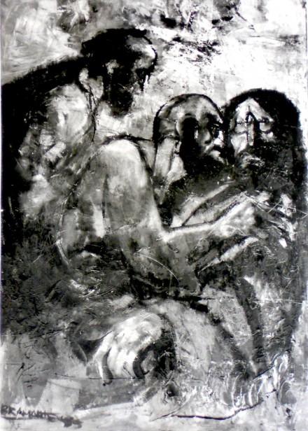 """""""il bacio di Giuda"""" - olio su tela 80 x 120 cm., 1978 - Collezione Gentile, Locorotondo."""