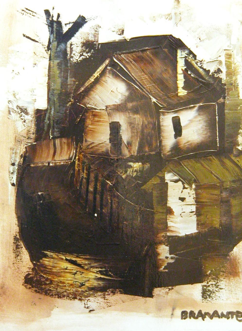 """""""Casa"""" - Olio su tela 40 x 50 cm., 1980 - Collezione privata."""