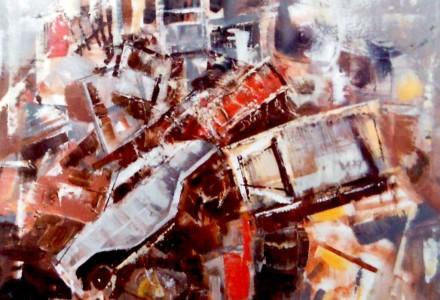"""""""Attualità"""" - Olio su tela, 60 x 80 cm.,1972 - Collezione privata, Milano."""