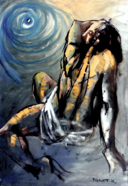 """""""L'occhio di Dio"""" - Olio su tela, 70 x 100 cm. Anno 1972. - Archivio Onofrio Bramante, Milano."""