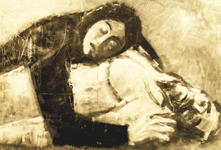 """""""Cristo morto"""" - Olio su tela, 100 x 70 cm., 1971 - Collezione Cattaneo, Treviglio."""