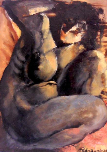 """""""Formazione materica"""" - Olio su cartone telato, 50 x 70 cm.,1972 - Collezione privata, Monopoli."""