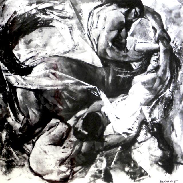 """""""Eurizione e Ippodamia"""" - Olio su masonite 140 x 140 cm., 1973 - Collezione privata."""
