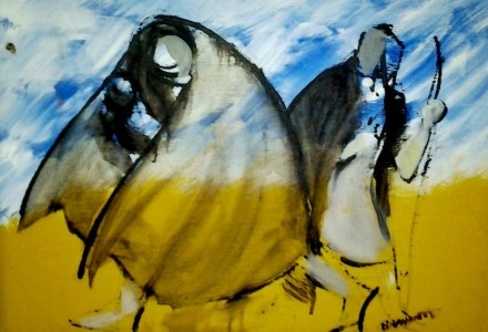 """""""Fuga da Nazareth"""" - Olio su tela, 50 x 40 cm., 1994 - Collezione Concilio, Milano."""