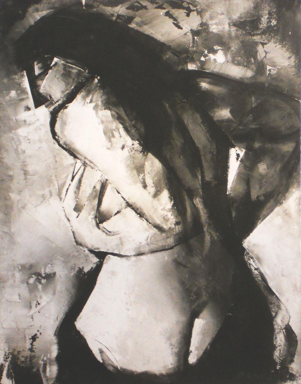 """""""Modella"""" - Olio su masonite, 40 x 50 cm., 1972 - Collezione Gatti, Ostuni."""