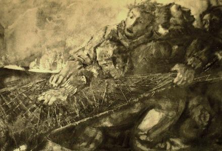 """""""Pescatori"""" - Olio su tela, 120 x 80 cm., 120 x 70 cm., 1987 - Collezione privata, Gallipoli."""