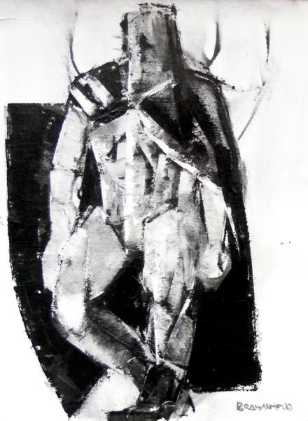 """""""Guerriero"""" - Olio su tela, 60 x 80 cm., 1973 - Collezione privata."""